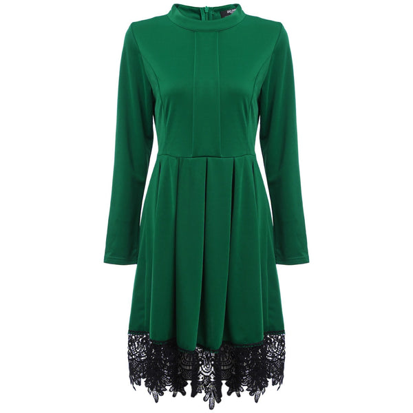 Retro Round Collar Long Sleeve Lace Spliced Pure Color Dress for Ladies