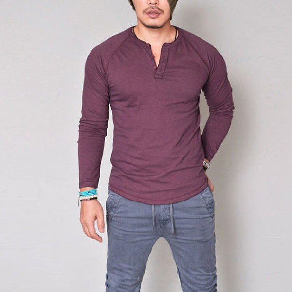 Fashion men's slim long-sleeved T-shirt V-neck cotton large size T-shirt