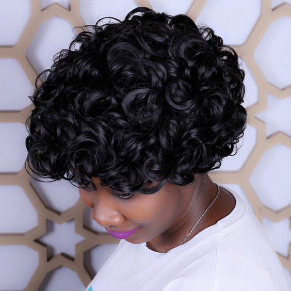 Short Afro Curly Synthetic Capless Wig