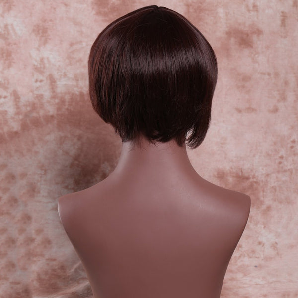 Stylish Deep Brown Short Fluffy Side Bang Women's Synthetic Wig