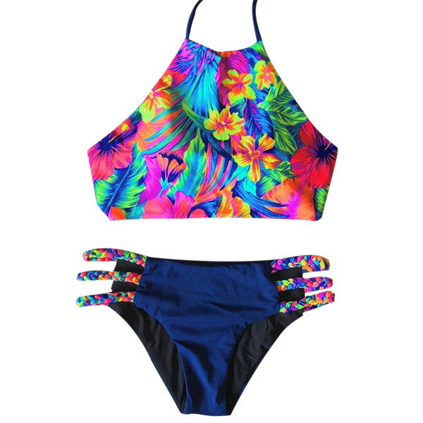 Sexy Print Pattern High Neck Women Bikini Set