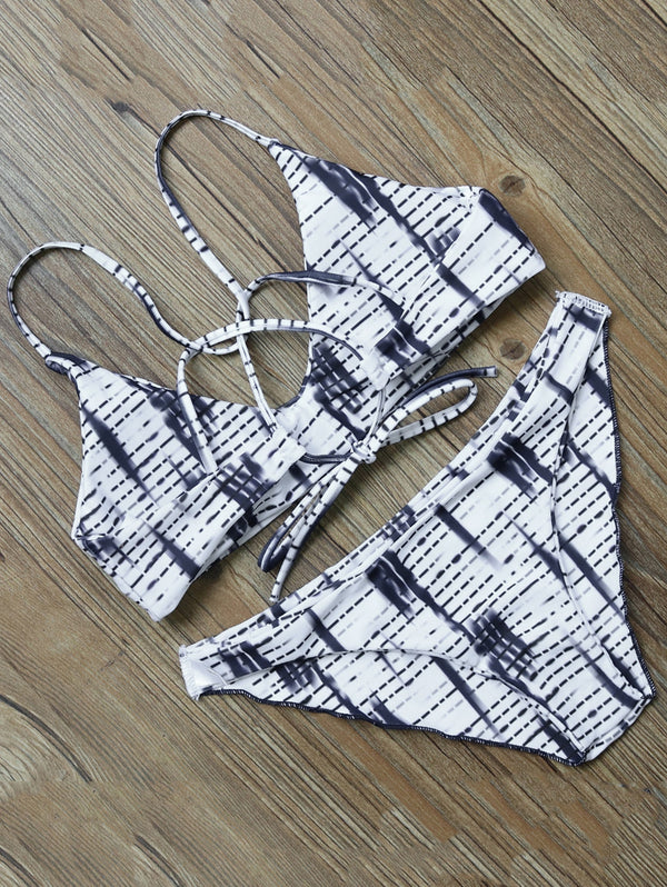 Striped Strappy Back Bikini Set