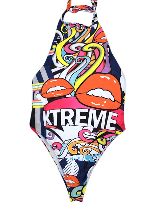 Graffiti Print Halter Swimsuit