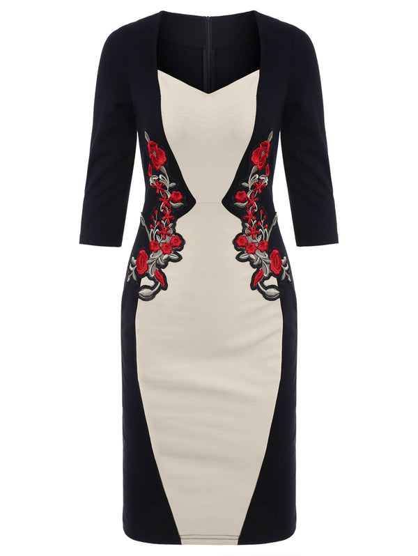 Color Block Sheath Embroidered Dress
