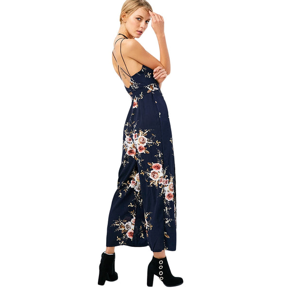 Criss Cross High Slit Maxi Floral Flowy Jumpsuit