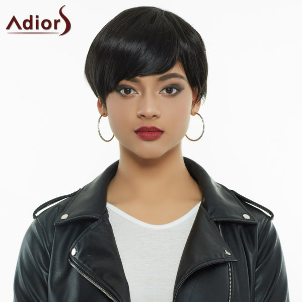 Short Full Bang Straight Bowl Synthetic Capless Wig