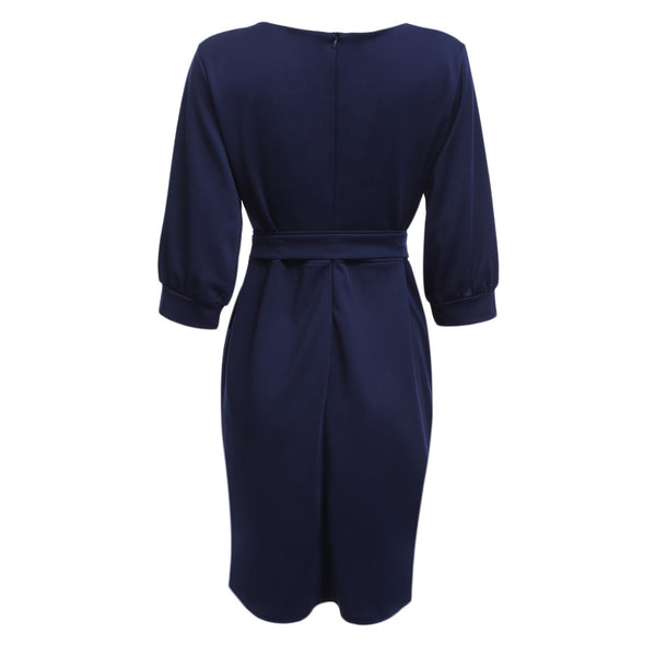 Brief Round Collar Half Sleeve Tied Pure Color Women Dress