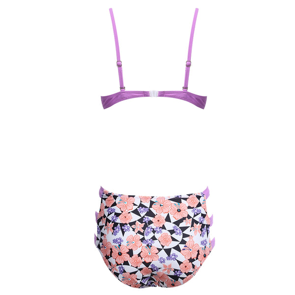 Sexy Hollow Out Print Wire High Waist Swimsuit Women Bikini