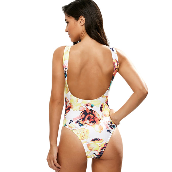 Printed Lace Up Plunge Swimsuit