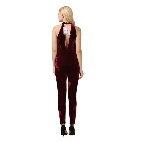 Stylish Round Collar Hollow Out Backless Women Jumpsuit