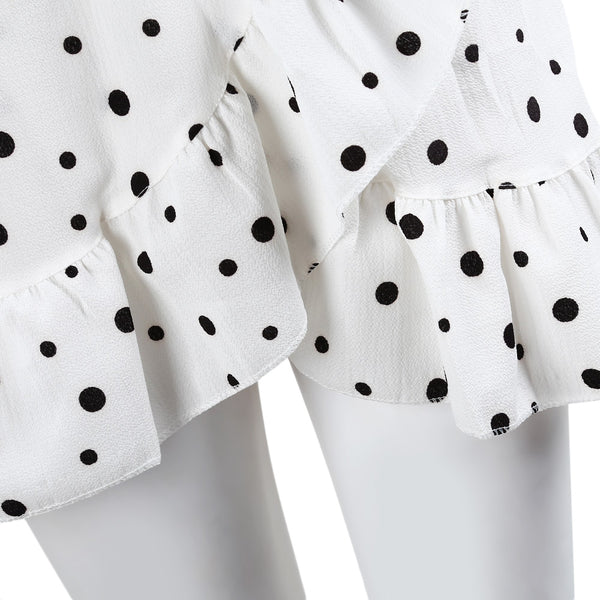 Sexy Polka Dot V-neck Ruffle Sleeve Dress with Waistband