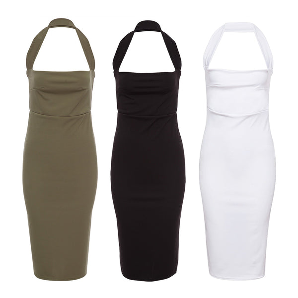 Sexy Halter Backless Skinny Solid Color Midi Dress for Women