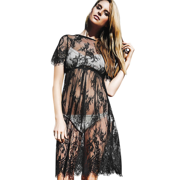 Sexy Round Neck Short Sleeve See-through Pure Color Lace Beach Dress for Ladies