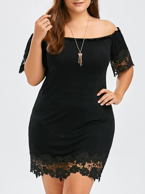 Plus Size Off The Shoulder Lace Trim Short Bodycon Dress