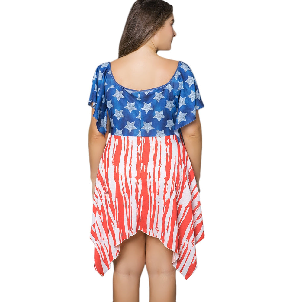 4bdab31e898 Asymmetric Patriotic American Flag Print Plus Size Dress ...