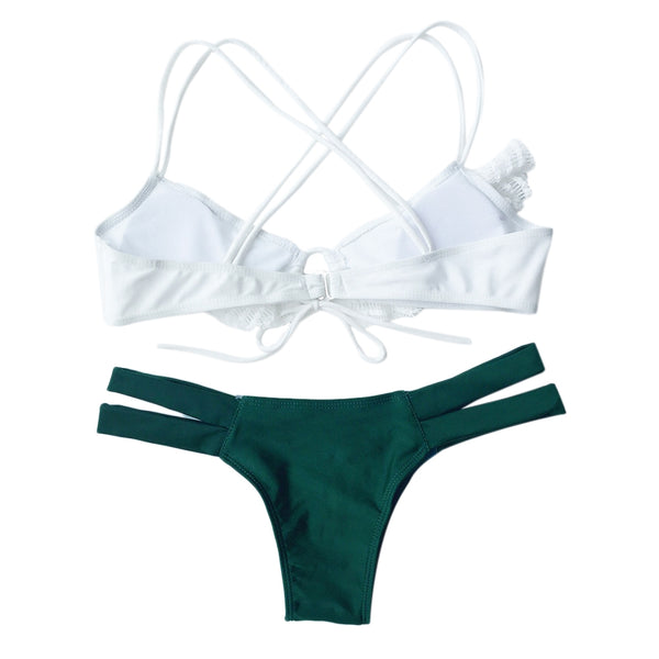 Alluring Spliced Criss-Cross Bikini Set For Women