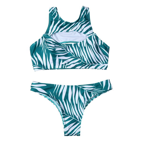 Cut Out Tropical Print Bikini Set