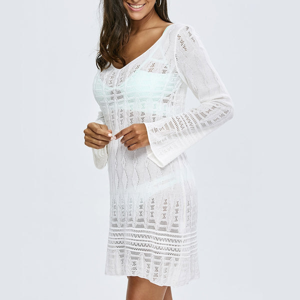 See Thru Long Sleeve Crochet Cover-Up