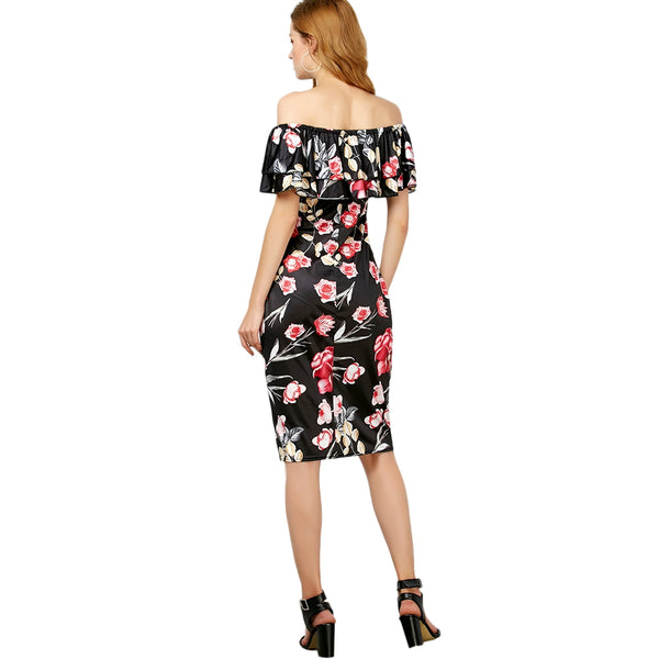 Off The Shoulder Floral Ruffle Layer Dress