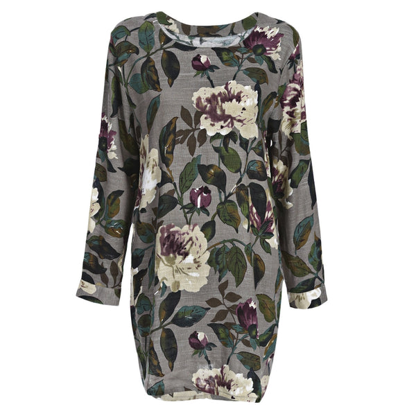 Round Neck Long Sleeve Floral Linen Blouse Dress
