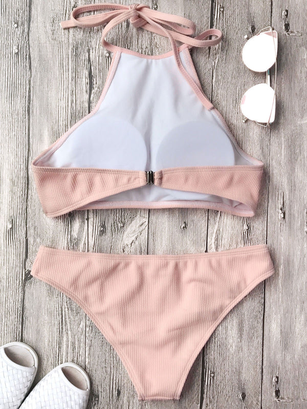 Rib Textured High Neck Bikini Set