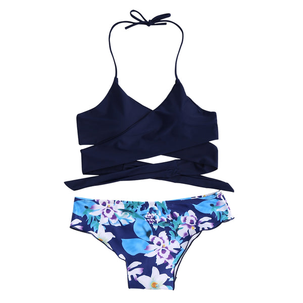 Floral Panel String Halter Bikini Set