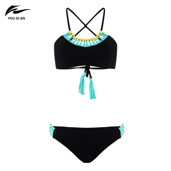 YOU DI AN Women Slim Knit Bikini Two-piece Suits with Tassel