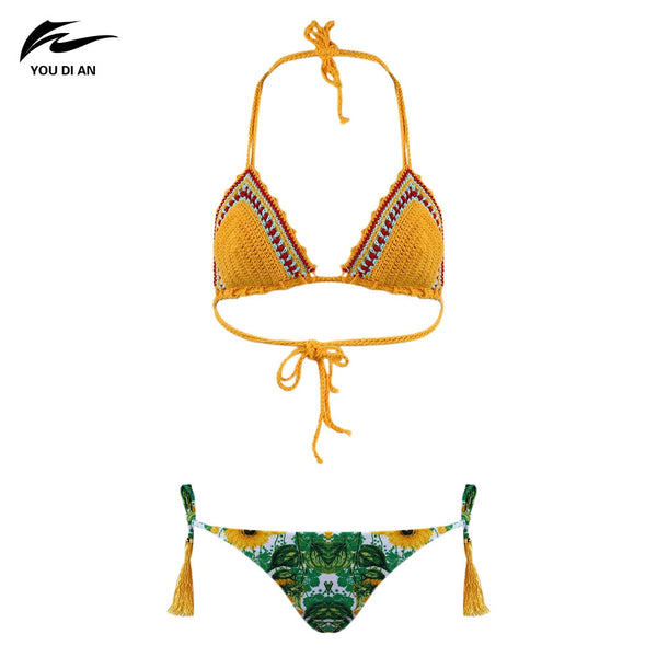 YOU DI AN Women Sexy Weaving Bikini Two-piece Suits