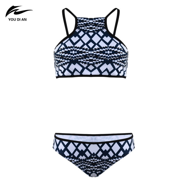 YOU DI AN Fashion Sexy Grid Printed Bikini Two-piece Suits for Women