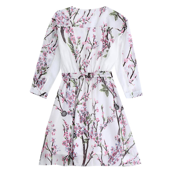 Surplice Floral Chiffon Flowy Dress