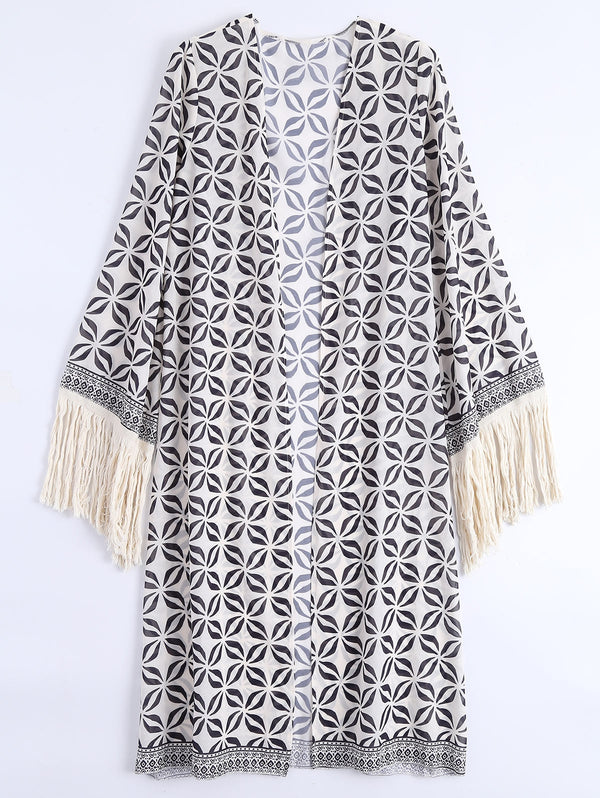 Fringed Open Front Bohemian Beach Cover Up