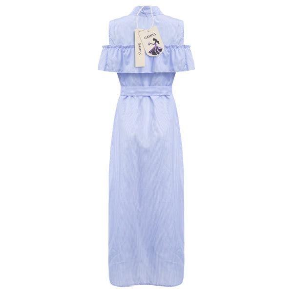 Long Turn-down Collar Lotus Striped Women Dress with Belt