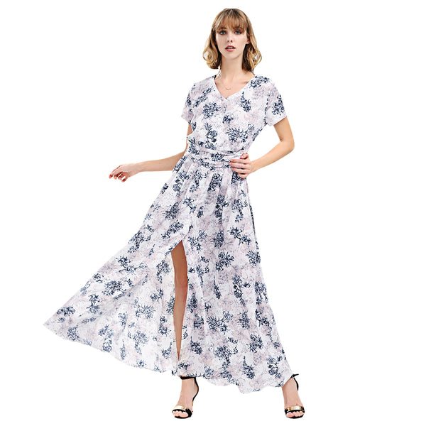 V Neck Short Sleeve Slit Button Floral Print Women Dress