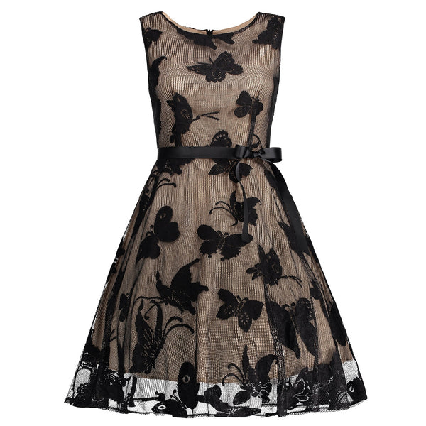 Butterfly Graphic Belted Short Formal Dress