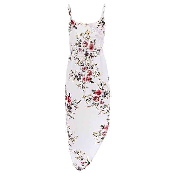 Slip Floral Asymmetric Holiday Dress
