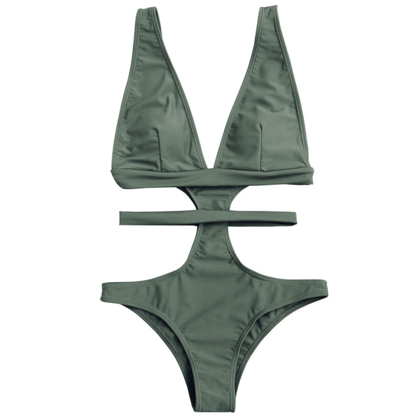 Plunging Neck Cut Out Bandage Swimwear