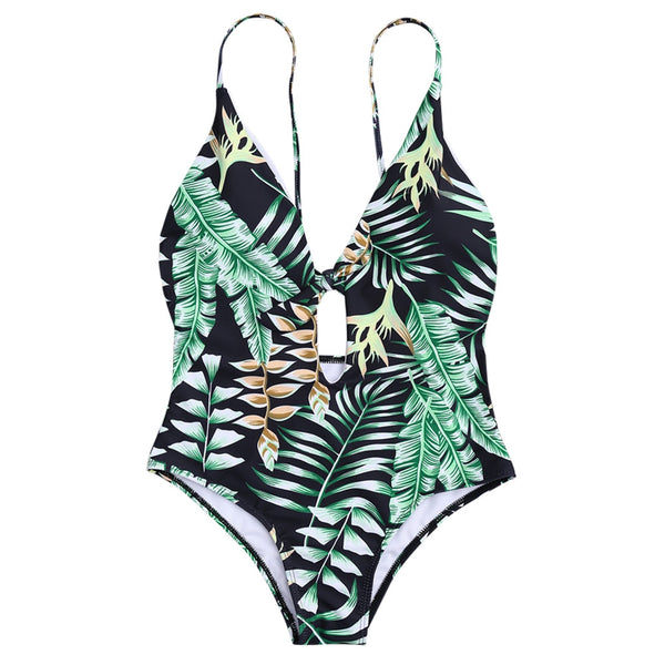 Tropical Leaf Print Front Tie Swimsuit