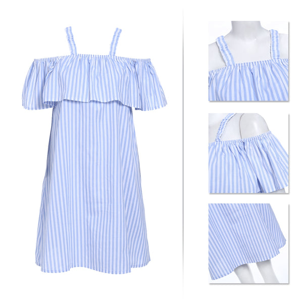 Off The Shoulder Strap Flounce Vertical Stripe Women Dress