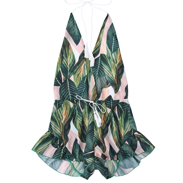 Backless Drawstring Leaf Print Cover Up Romper
