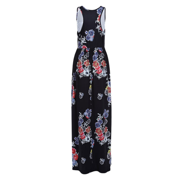 Trendy Round Collar Sleeveless Print Women Maxi Dress