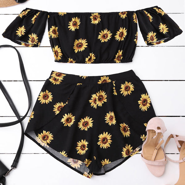 Crop Off Shoulder Top and Sunflower Shorts
