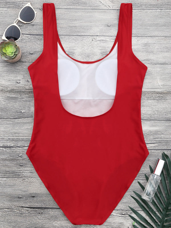 Sahping Graphic Open Back One Piece Swimsuit