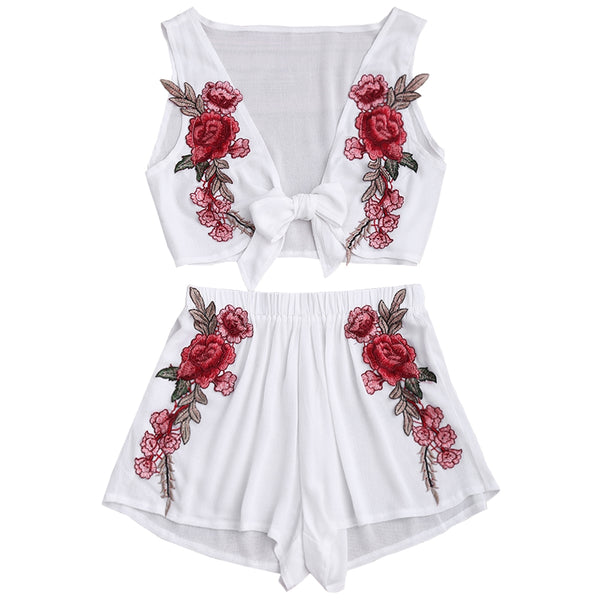 Floral Applique Bowknot Top and Shorts