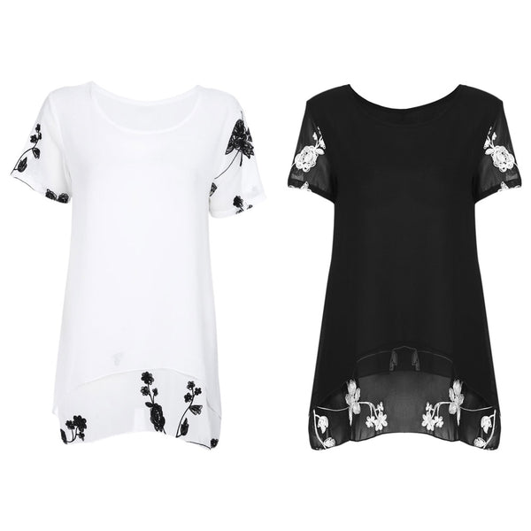 Round Collar Short Sleeve Embroidery Chiffon Women Blouse