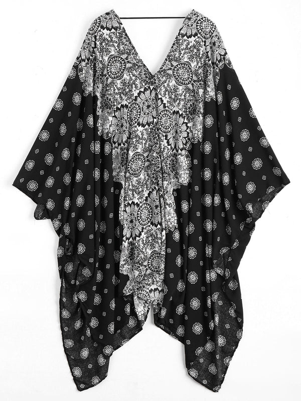 Patterned Batwing Kimono Cover Up