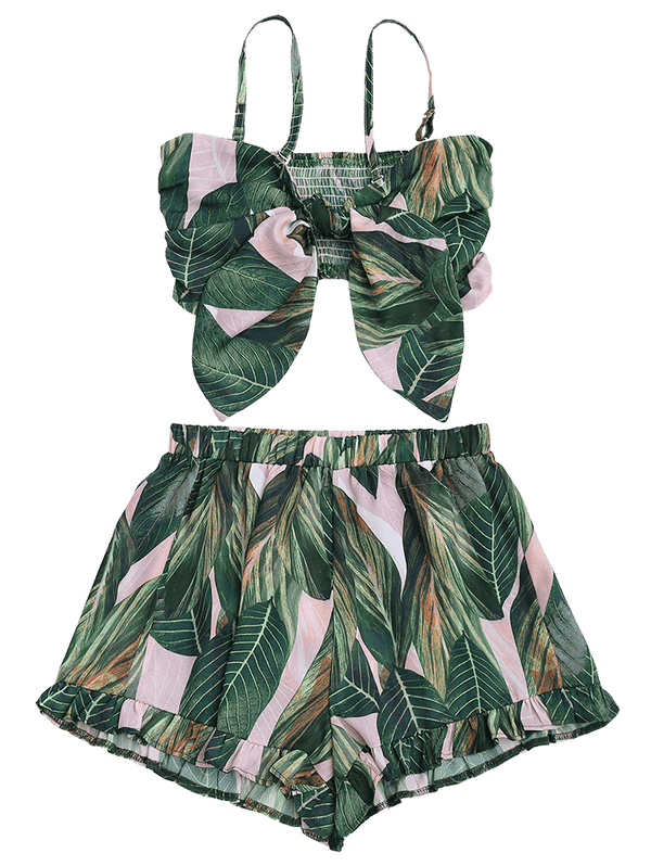 Leaf Print Bowknot Smocked Top with Ruffles Shorts