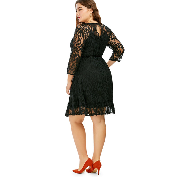 Lace A Line Plus Size Dress With Belt
