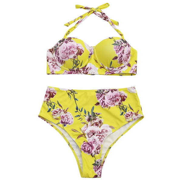 High Waisted Floral Halter Bathing Suit