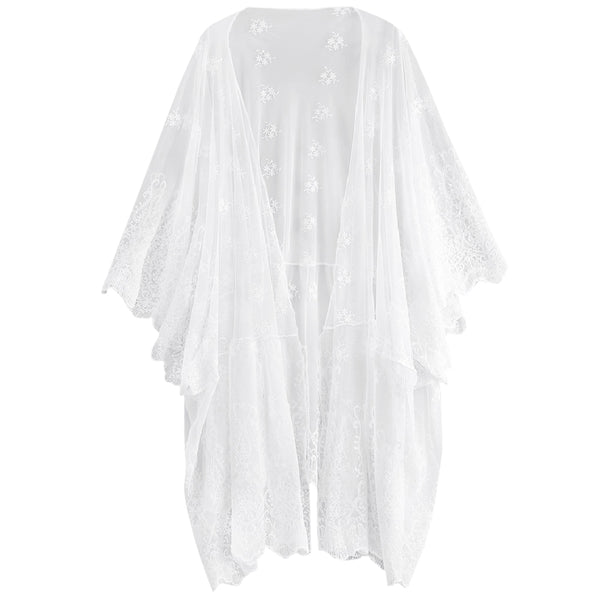 Embroidered Sheer Open Front Poncho Cover Up