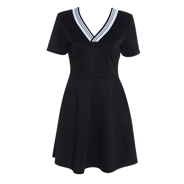 V Neck Short Sleeve Backless Spliced Stripe A-line Women Dress